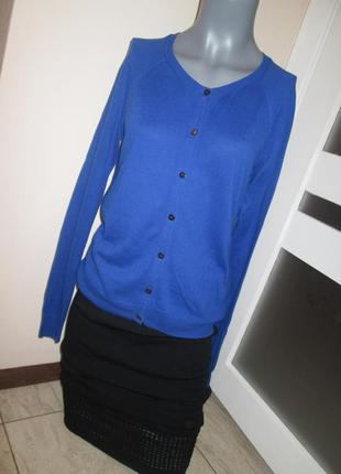 Тонкий трикотаж, кофта на пуговицах gap, цвет синий персидский, сост. идеальное, р. xs