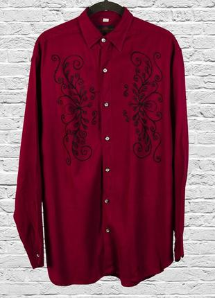 Бордовая рубашка оверсайз с вышивкой