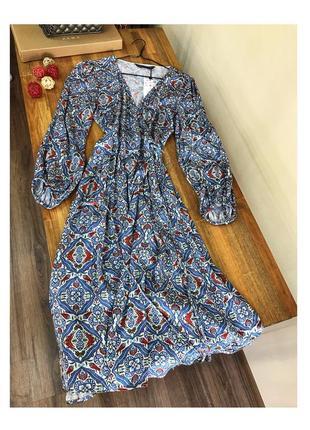 Платье  миди халат от zara
