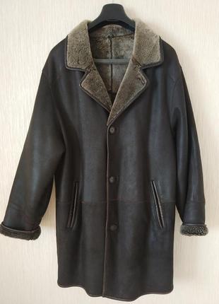 Дубленка мужская под костюм коричневая натуральный мех 50-52 рр
