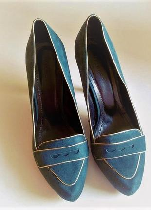 Женские замшевые туфли каблуке и танкетке + колготы calzedonia в подарок 38-38,5