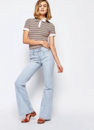Ліквідація товару до 10 грудня 2018 !!! светлые расклешенные джинсы lost ink
