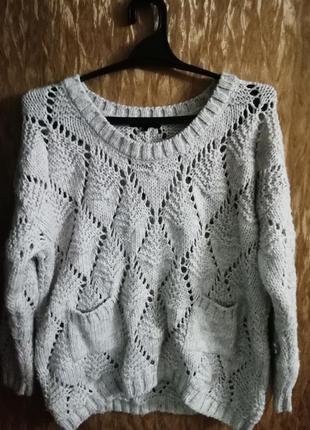 Вязаный теплый джемпер/свитер river island