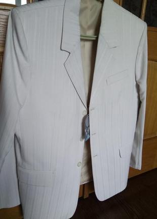 Новый мужской костюм пиджак брюки на свадьбу венчание праздник светлый