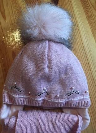 Новенька тепла шапка та шарф agbo ( світло рожева)