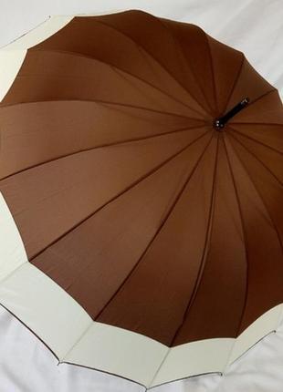 Большой шикарный женский зонт трость swift коричневый 16 спиц карбон