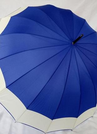 Большой шикарный женский зонт трость swift синий 16 спиц карбон