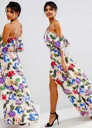 Платье asos макси с цветочным принтом, оборкой и открытыми плечами  s m