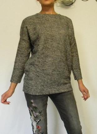 Тёплый длинный меланжевый пушистый свитер италия