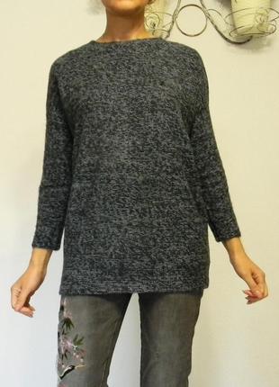 Тёплый пушистый длинный синий свитер италия