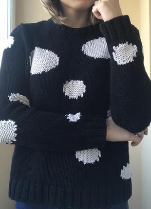 Чёрный свитер zara в крупный горошек , m