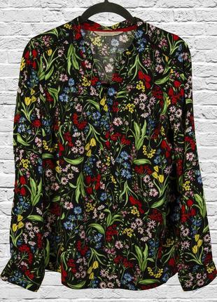Цветная рубашка с принтом, блуза с длинным рукавом