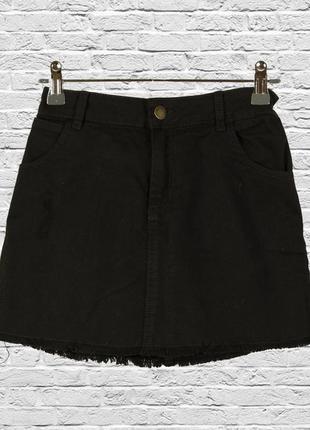 Короткая юбка джинсовая черная, мини юбка джинсовая
