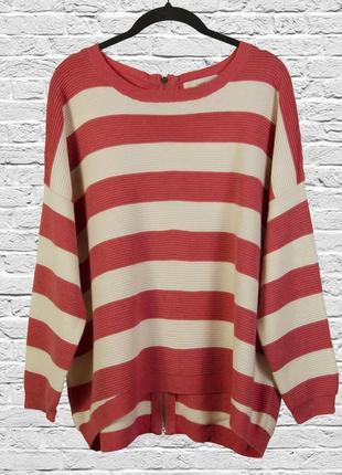 Свободный свитер в полоску с замком на спине