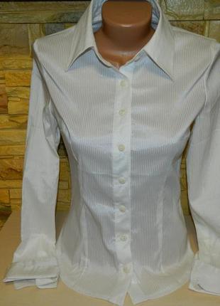 Блуза женская белая новая в мелкую полосочку с блеском на пуговицах delizza размера 42-44.