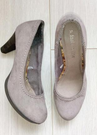 Текстильные туфли под замш, замшу, серые, песочные, бежевые на каблуке