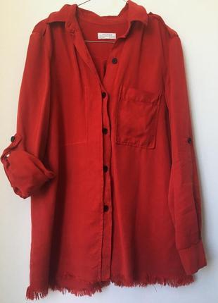 Красная джинсовая рубашка от zara
