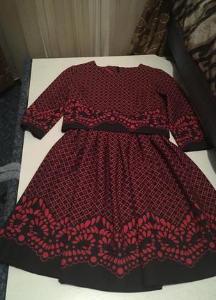 Костюм юбка топ пышная нарядное премиум с узором красно черное