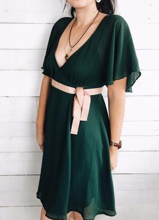 Красивое изумрудное платье миди h&m