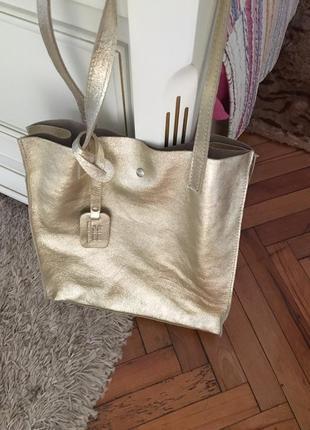 Кожанная сумка шоппер. италия
