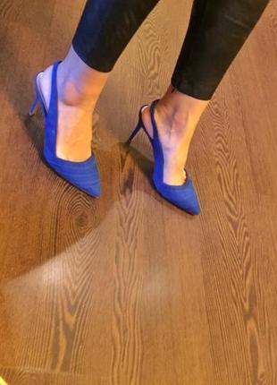 Стильные синие мюли туфли лодочки на шпильке monsoon