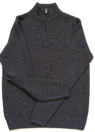 Вязаный фактурный джемпер свитер под горло гольф серый мелаж m-l