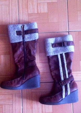 Сапоги коричневые на зиму