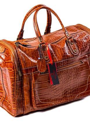 Сумка дорожная саквояж кожаный коричневый eminsa 6517 4-2