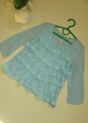 Шикарная мятная кружевная блузка h&m 7-9 лет