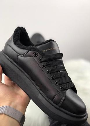 Женские зимние кроссовки alexander mcqueen full black leather suede (37-41 рр.) с мехом