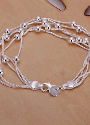 Браслет пять строк очень красивый стерлинговое серебро 925 пробы