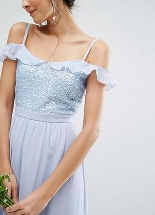 Платье макси с открытыми плечами и пайетками maya