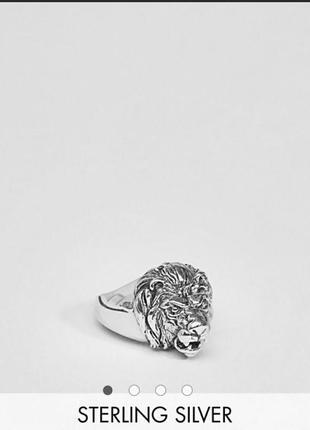 Кольцо печатка лев от asos