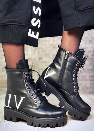 Рр 36-40 зима натуральная кожа люксовые эксклюзивные черные ботинки с буквами