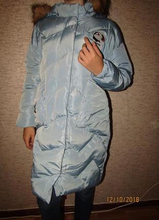 Куртка пальто зефирка зима на меху, для девочек,10-16, венгрия