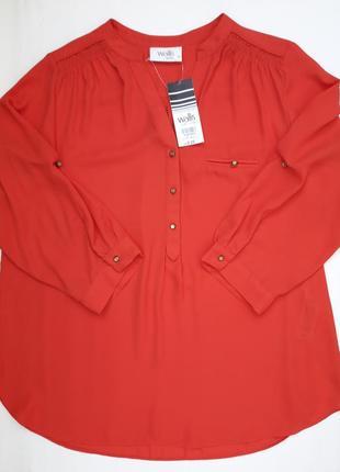 Классная коралловая блуза рукав 3/4 бренда wallis petite