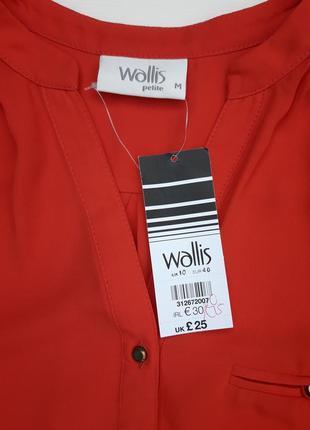 Классная коралловая блуза рукав 3/4 бренда wallis petite2 фото