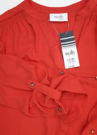 Классная коралловая блуза рукав 3/4 бренда wallis petite3 фото