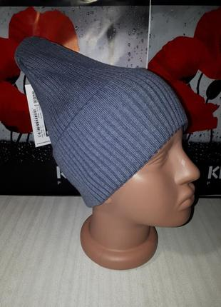 Демисезонная шапка бини с отворотом в рубчик,смоук2