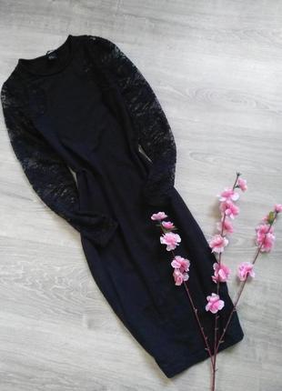 Чёрное платье миди с кружевом и рукавами h&m