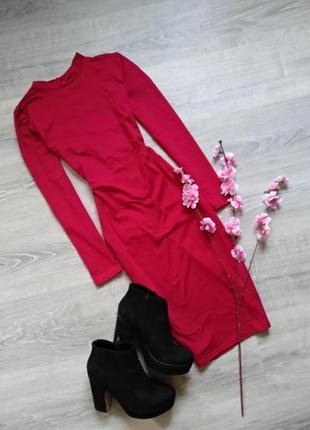 Красное платье на осень с красивой спиной h&m