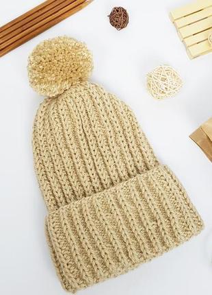 Теплая зимняя шапка цвета капучино альпака шерсть