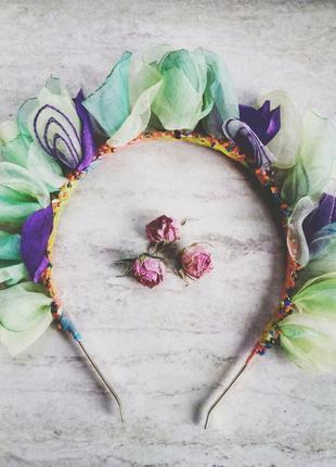 Обруч, ободок, венок с цветами, цветочный