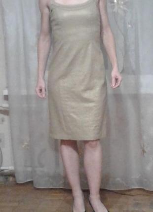 Бронзово-золотистое платье-миди  из льна