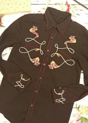Шикарная плотная рубашка с вышивкой 10-14