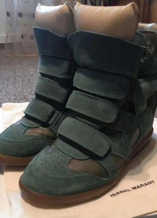 Isabel marant замшевые темно-зеленые сникерсы / кросовки. оригинал.