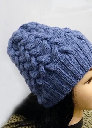 Bregoli design вязаная теплая синяя шапка без отворота косы