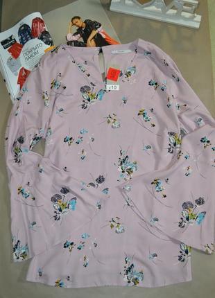 🍓красивая лиловая блуза в цветочный принт с актуальными рукавами george!