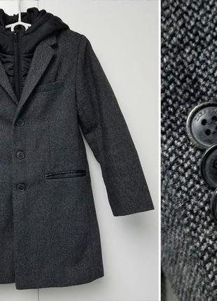 Zara boys smart смарт пальто с отстегивающимся капюшоном шерстяное осеннее пальтишко