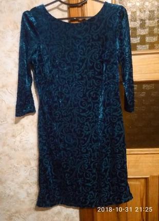 Вельветовое платье, темная бирюза